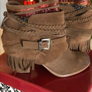 Naughty Monkey brown leather booties with fringe